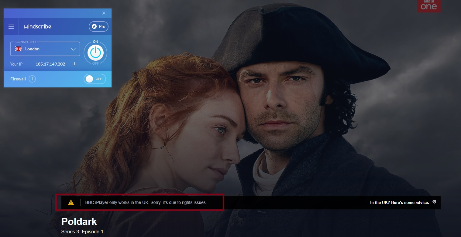 windscribe is not working with bbc iplayer
