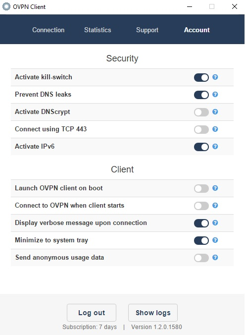 ovpn server settings you can play around