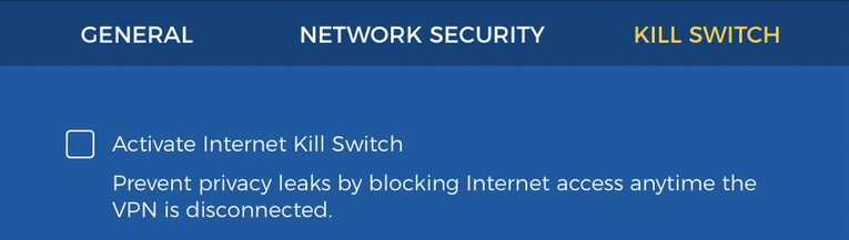 one and only option from hidemyass. kill switch to shut down internet in case you drop out of vpn server.
