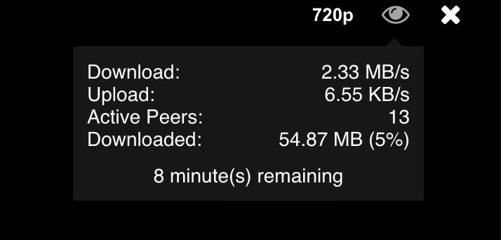 when wathcing a popcorn time tv show vyprvpn will give around 2.5 mb/sec download speed