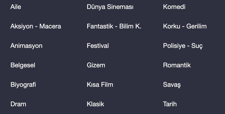 blutv'yi türkiye IP adresi ile izleyince sahip olacağınız içerik kataloğu.