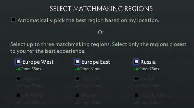 Dota 2 online game experience. This is a value without a VPN connection.