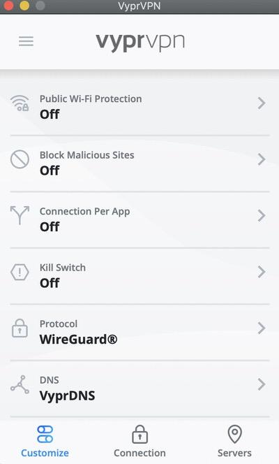 Itt láthatja a VyprVPN funkcióit, amelyekkel módosíthatja. Igényeitől függően módosíthatja a protokollokat, a VPN-helyeket és a DNS-szolgáltatásokat.