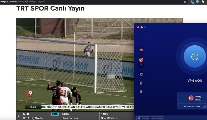 VeeVPN firmasının yüksek hızlı sunucuları sayesinde dilediğin noktada TRT Spor içeriklerini en yüksek kalitede izleyebilirsin. Bu resimde maçtan bir alıntı vardır.
