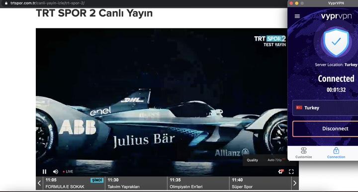 VyprVPN'in Türkiye İstanbul sunucusuna bağlandıktan sonra yurt dışında rahatlıkla TRT Spor izleyebileceksiniz.